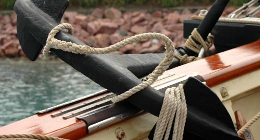 Tall ship's anchor on deck