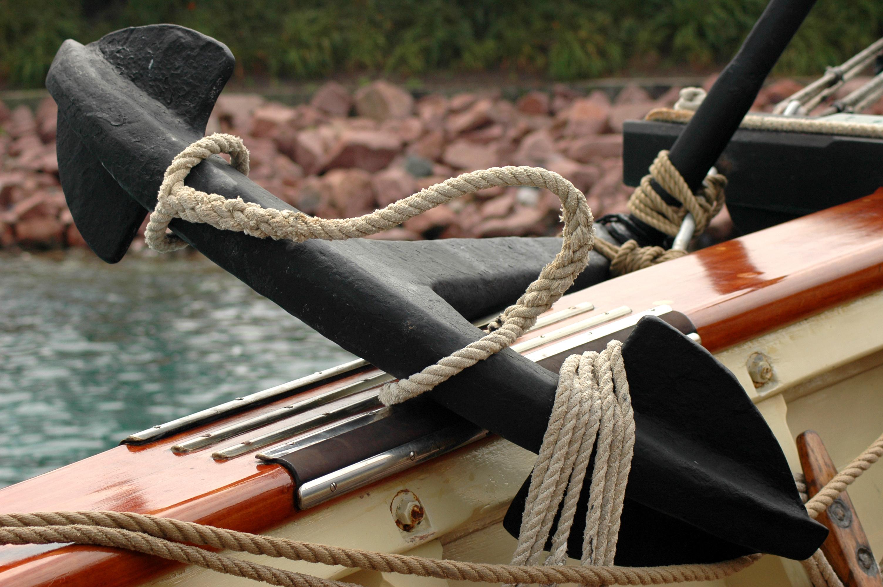 ship's anchor on deck