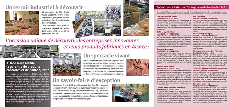 Plaquette Semaine Textile : programme de découverte des entreprises textile en alsace